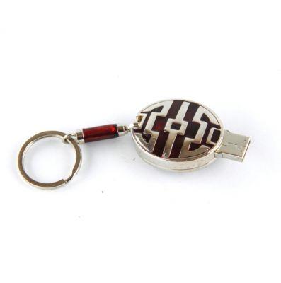 PORTACHIAVI ROSSO BORDEUX CON USB, art. 076710R