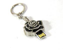 PORTACHIAVI ROSA NERA  C/ STRASS CR.USB  2 GB, art. 076680N