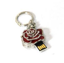 PORTACHIAVI ROSA ROSSA C/ STRASS CR.USB  2 GB, art. 076680R