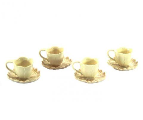 TAZZINE SET 4 PZ CAFFE'  CREAM A FIORE, art. 9836002