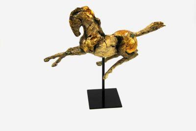 CAVALLO SCULTURA CON BASE IN METALLO, art. 0870191